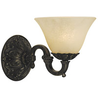 Napoleonic 1 Light 6 inch Mahogany Bronze Sconce Wall Light in Champagne Marble