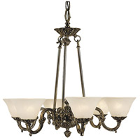 HA Framburg Napoleonic 6 Light Dining Chandelier in French Brass with White Marble Glass Shade 7886FB/WH
