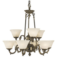 HA Framburg Napoleonic 9 Light Dining Chandelier in French Brass with White Marble Glass Shade 7889FB/WH