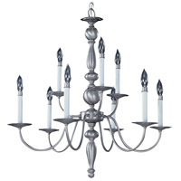 HA Framburg Jamestown 9 Light Chandelier in Satin Pewter 7919SP