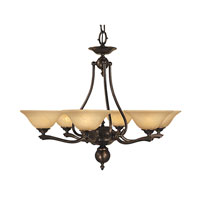 HA Framburg Fin de Siecle 6 Light Chandelier in Siena Bronze/Champagne Nuage 7996SBR