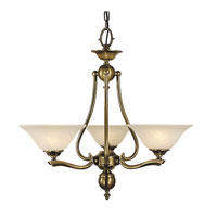 HA Framburg Fin De Siecle 3 Light Chandelier in Polished Brass/ Nuage 7998PB/N