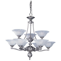 HA Framburg Fin De Siecle 9 Light Chandelier in Satin Pewter/Nuage 7999SP/N