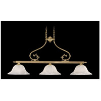 Fin De Siecle 3 Light 45 inch Polished Brass Island Chandelier Ceiling Light in Without Shade