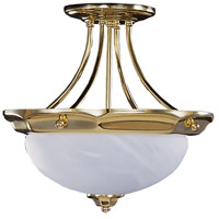 HA Framburg Fin de Siecle 2 Light Semi-Flush Mount in Polished Brass/ Nuage 8028PB/N