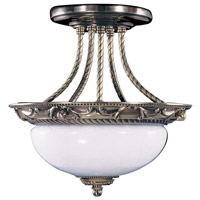Napoleonic 2 Light 12 inch French Brass Semi-Flush Mount Ceiling Light