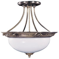 Napoleonic 2 Light 16 inch French Brass Semi-Flush Mount Ceiling Light