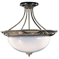 Napoleonic 3 Light 20 inch French Brass Semi-Flush Mount Ceiling Light