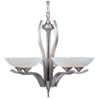 HA Framburg Solstice 5 Light Chandelier in Satin Pewter/Polished Nickel 8805SP/PN