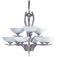 HA Framburg Solstice 9 Light Chandelier in Satin Pewter/Polished Nickel 8809SP/PN