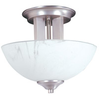 Solstice 2 Light 11 inch Satin Pewter with Polished Nickel Semi-Flush Mount Ceiling Light