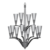 HA Framburg Syzygy 12 Light Foyer Chandeliers in Ebony/Polished Nickel 8828EB/PN