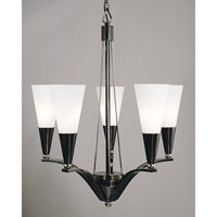HA Framburg Solstice 5 Light Chandelier in Ebony w/ Polished Nickel Accents 8835EB/PN