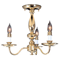 Jamestown 3 Light 15 inch Polished Brass Semi-Flush Mount Ceiling Light