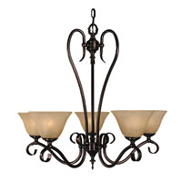 HA Framburg Black Forest 5 Light Chandelier in Siena Bronze/Champagne Marble 9155SBR/CM