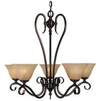 HA Framburg Black Forest 5 Light Dining Chandeliers in Harvest Bronze/White Marble 9155HB/WH