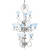 HA Framburg Black Forest 12 Light Foyer Chandelier in Satin Pewter/White Marble 9156SP/WH