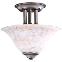 HA Framburg Black Forest 2 Light Semi-Flush Mount in Mahogany Bronze/Amber Marble 9157MB/AM