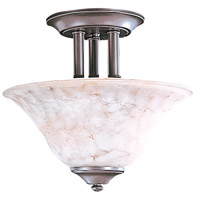 HA Framburg Black Forest 2 Light Semi-Flush Mount in Mahogany Bronze/Amber Marble 9158MB/AM