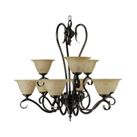 HA Framburg Black Forest 9 Light Chandelier in Ebony w/ Amber Marble 9159EBONY/AM