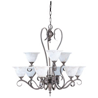 HA Framburg Black Forest 9 Light Dining Chandelier in Harvest Bronze with Amber Marble Glass Shade 9159HB/AM