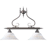 HA Framburg Black Forest 2 Light Island Chandelier in Mahogany Bronze/Amber Marble 9162MB/AM
