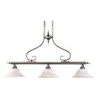 Framburg 9163MB/CH Black Forest 3 Light 43 inch Mahogany Bronze Island Chandelier Ceiling Light in Champagne Piastra