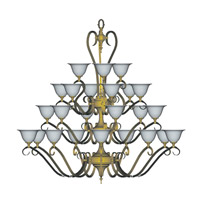 HA Framburg Black Forest 24 Light Foyer Chandeliers in Satin Pewter/White 9166SP/WH