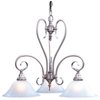 HA Framburg Black Forest 3 Light Chandelier in Satin Pewter/White 9168SP/WH