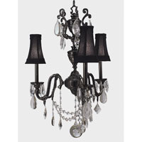 HA Framburg Czarina 3 Light Mini Chandeliers in Ebony w/ Black Shade 9283EBONY/BL