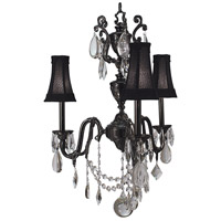 HA Framburg Czarina 3 Light Mini Chandelier in Antique Silver/Black 9283AS/BLACK