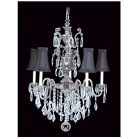 HA Framburg Czarina 5 Light Chandelier in Antique Silver/Black 9285AS/BLACK