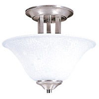 Bellevue 2 Light 10 inch Brushed Stainless with Polished Nickel Semi-Flush Mount Ceiling Light