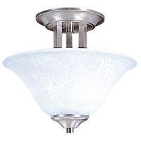 Bellevue 2 Light 13 inch Brushed Stainless with Polished Nickel Semi-Flush Mount Ceiling Light