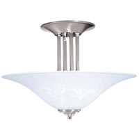 Bellevue 3 Light 20 inch Brushed Stainless with Polished Nickel Semi-Flush Mount Ceiling Light