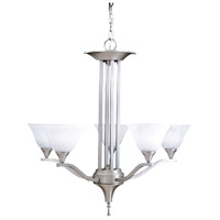 Framburg 9305BS/PN Bellevue 5 Light 28 inch Brushed Stainless with Polished Nickel Dining Chandelier Ceiling Light photo thumbnail