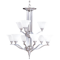 HA Framburg Solstice 9 Light Chandelier in Brushed Stainless/Polished Nickel 9309BS/PN