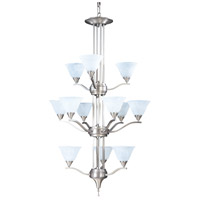 Bellevue 12 Light 29 inch Brushed Stainless with Polished Nickel Foyer Chandelier Ceiling Light