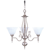HA Framburg Black Forest 3 Light Chandelier in Satin Pewter/White Marble 9423SP/WH