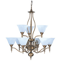 HA Framburg Black Forest 9 Light Chandelier in Harvest Bronze/White Marble 9429HB/WH