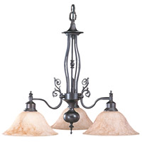 HA Framburg Black Forest 3 Light Chandelier in Mahogany Bronze/Amber Marble 9433MB/AM