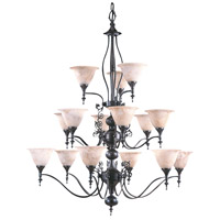HA Framburg Black Forest 15 Light Foyer Chandelier in Mahogany Bronze/Amber Marble 9435MB/AM