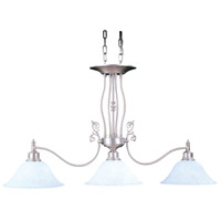 HA Framburg Black Forest 3 Light Island Chandelier in Satin Pewter/White Marble 9438SP/WH