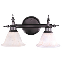 HA Framburg Black Forest 2 Light Bath Light in Mahogany Bronze/Amber Marble 9442MB/AM