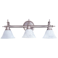 HA Framburg Black Forest 3 Light Bath Light in Satin Pewter/White Marble 9443SP/WH