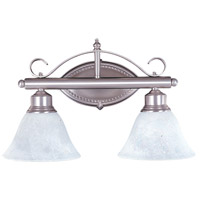 HA Framburg Metalcraft 2 Light Bath Light in Satin Pewter/White Marble 9472SP/WH