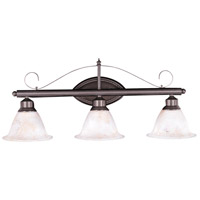 HA Framburg Metalcraft 3 Light Bath Light in Mahogany Bronze/Amber Marble 9473MB/AM