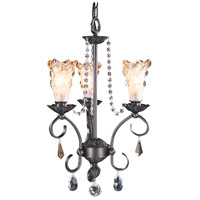 Framburg 9723MB Liebestraum 3 Light 13 inch Mahogany Bronze Mini Chandelier Ceiling Light