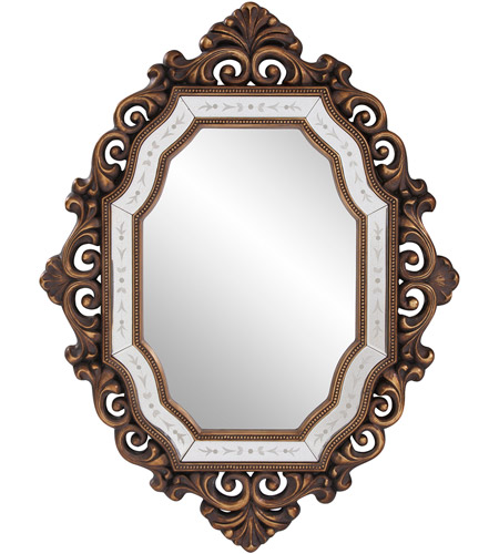 Howard Elliott Collection 11059 Ariana 40 X 31 inch Antique Gold Wall Mirror, Oval photo