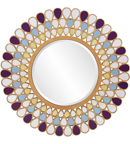 Howard Elliott Collection 11111 Grace 40 X 40 inch Amethyst and Amber Wall Mirror, Round photo